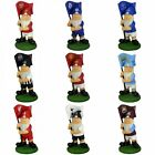 Football Team Ceramic Flag Garden Gnome - Corner Badge Crest Mini Supporters New