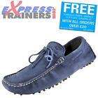 Base London Mens Gambon Slip On Leather Moccasin Driving Shoes Blue *AUTHENTIC*