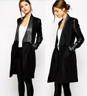 Hot Women's PU Leather Collar Woolen Long Coat Trench Jacket Outwear Parka Coats