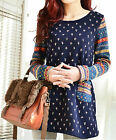 Ladys cotton long sleeves Jumper Oversize Sweater Knitwear Tops shirt plus size