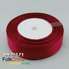Wine  Double Sided Satin Ribbons 25Yds Per Roll Sewing 10mm,12mm,15mm,24mm #166