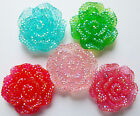5 SPARKLE AB ROSE FLOWER FLAT BACK RESIN CABOCHONS 28mm
