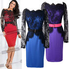 Vintage Women Bodycon SEXY Lace Splicing Pencil Evening Club Casual Dress 5 Size