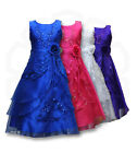 Girls Formal Layered Party Dresses Flower Girl Bridesmaid Dress Age 4 to 15 Y