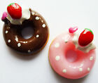 6 DOUGHNUT CAKE RESIN FLAT BACK CABOCHONS 18mm - Strawberry - Decoden Crafts