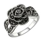 Marcasite Rose-Shaped Crystal Ring Vintage 18k White Gold GP Gift R258