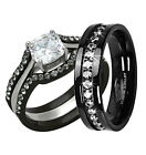 His Hers 4 Pc Black Stainless Steel Titanium Wedding Engagement Ring Band Set MA