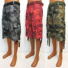 Men's SOUTHPOLE colors grey / black red woodland cargo camo shorts style 9001