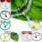 Fashion Faceted Crystal Glass Bead Teardrop Dangle Pendant Necklace Jewelry Gift