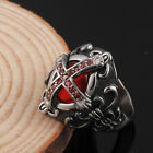 Casting Stainless Steel Gothic vampire cross ruby ring For Women Men Jewelry