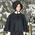 Ladies Victorian 2pc black velvet cape & bonnet gentry costume  fancy dress.