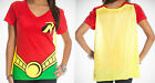 Batman DC Comics Robin Juniors Red T Shirt Top w/ Removable Yellow Cape Licensed