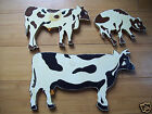 3 Farm Animal Wood Art Wall Plaques Featuring Cow Bull & Calf 1990 Hand Made