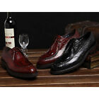 Mens Genuine Leather Crocodile Lace Up Perforated Pointy Toe Brogue Dress Shoes