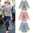 Women Owl Pattern Beaded Striped Asymmetric Hem 3/4 Sleeve T-Shirt Shirt Tee Top