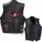 Women Lady Rider Route 66 Leather Motorcycle Vest with 9 Biker Style Patches