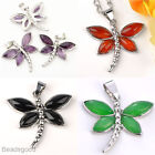 1pc Natural Amethyst Agate Gemstone Dragonfly Bead Pendant Jewelry For Necklace