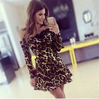 Women Leopard Print Off The Shoulder Long Sleeve Mini Skater Dress Clubwear