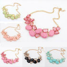 Candy Color Geometric Crystal Chain Bib Collar Chunky Statment Necklace Pendant