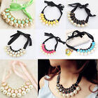 Hot Fashion Lady Pearl Jewelry Pendant Chain Choker Bib Statement Necklace Party