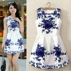 New Vintage Women Sleeveless White And Blue Porcelain Floral Printed Dress TTDT