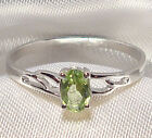 Genuine Faceted Oval Green Peridot .925 Sterling Silver Ring -- PD862
