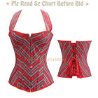 Lady Overbust  Lace Up Vintage Red Jeans Bustier Corset Top Party Plus Size O UK