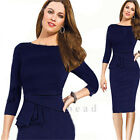 Hot Sexy Women Long Sleeve Slim Bodycon Cocktail Party Evening Pencil OL Dress