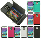 WALLET CREDIT CARD CASE SOFT RUBBER HARD COVER STAND FOR SAMSUNG GALAXY NOTE 4