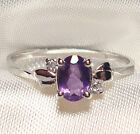 Genuine Faceted Oval Amethyst .925 Sterling Silver Ring -- AMT126