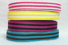 "ST6483 - 5 yds 3/8"" PINK YELLOW PINK/BLACK or TURQUOISE STRIPE GROSGRAIN RIBBON"