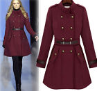 Womens Retro Military Stand Collar Double Breasted Trench Jacket Slim Long Coat