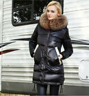 Womens Sexy Winter Thick Down Fur Collar Hooded Jacket Coat Slim Overcoat Parkas
