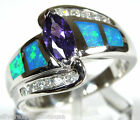 Amethyst and Blue Fire Opal Inlay Solid 925 Sterling Silver Ring size 6,7,8,9,10