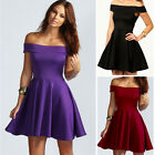 Women's Girls' Sexy Cute Off Shoulder Mini Dress Cocktail Party Skirt Hot Solid