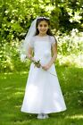 White Holy Communion Dress   A-line with Sheer Organza Bodice & Short Sleeves