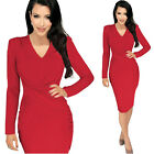 Womens Sexy RED Long Sleeve Short Evening Cocktail V NECK Pencil Dresses Cheap
