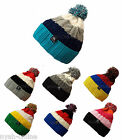 NEW KNITTED BEANIE HAT PLAIN WOOLY WINTER CAP WARM CABLE FITTED WOOLLY BOBBLE