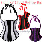 White Purple Red Women's Corset top Striped Underbust Cupless Shaper S-6X H3
