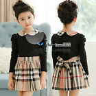 Spring Autumn Baby Child Kids Toddlers Girls Plaid Collar Bow Long Dress 2-7Y