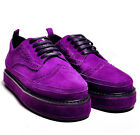 Women's Luxury Brogue Suede Punchde Detail Lace Up High Platform Creepers Shoes
