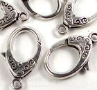 31x18mm X-Large Antique Silver Pewter Lobster Claw Clasps (5)