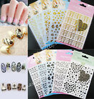 Lots 3D Gold Black Decal Sticker Nail Art Tip DIY Decor stamping Manicure Hot