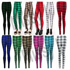 Womens Ladies Check Tartan Print Ankle Length Leggings Trousers Plus Sizes 8-26