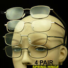 4 PAIR READING GLASSES SPRING HINGE METAL FRAME LENS MEN WOMEN PACK POWER LOT
