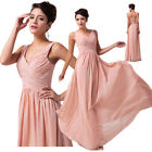 STOCK Long Chiffon Evening Formal Party Ball Gown Wedding Prom Bridesmaid Dress