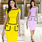 Sexy Women Cap Sleeve Slim Bodycon Pencil Cocktail Party Office Work Dress PLUS