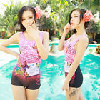 One Piece Modest Pink Butterfly Siamese Boxer Swimsuit Swimwear Swimming Costume