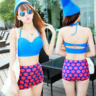 Retro Bikini Swimsuit Swimwear Crop Top Polka Dot High Waist Waisted Bottom Set