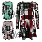 Womens Celeb Long Sleeve Patchwork Check Print Skater Flared Swing Dress Top